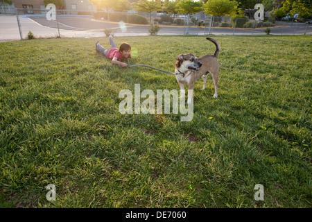 Chico cayendo en campo de hierba mientras caminaba a su perro. Imagen De Stock