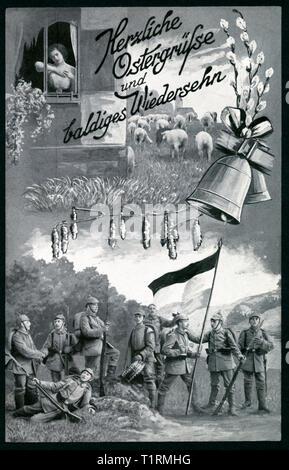 """Alemania, Hamburgo Bergedorf, WW I, la Primera Guerra Mundial, la propaganda, la Pascua patriótico postal con el texto: """"Calurosas felicitaciones pascuales y esperamos volver a verle pronto ', también un dibujo que muestra soldados, una campana, amentos de sauce y una joven dama triste, una postal enviada el 25 03 1915. , Additional-Rights-Clearance-Info-Not-Available Imagen De Stock"""