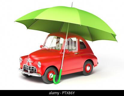 Coche rojo bajo el paraguas. Ilustración 3D Imagen De Stock