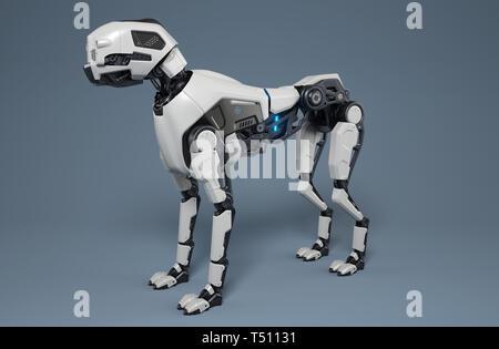 Perro robot destaca sobre un fondo gris. Ilustración 3D Imagen De Stock