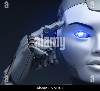 Cyborg posee un dedo cerca de la cabeza. Ilustración 3D Imagen De Stock