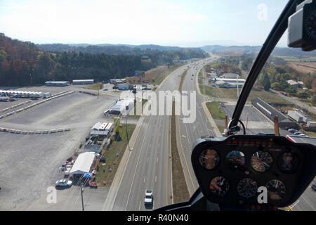Paseos en helicóptero Sevierville, Tennessee, la partida para el Great Smoky Mountain National Park Imagen De Stock