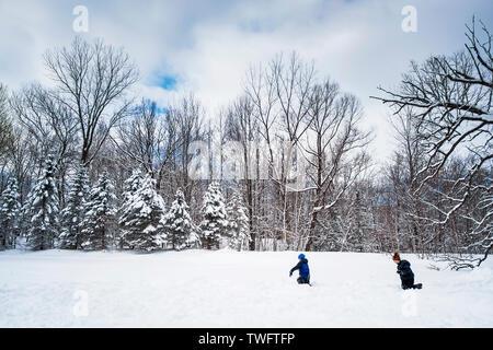 Dos varones con una bola de nieve, Estados Unidos Imagen De Stock