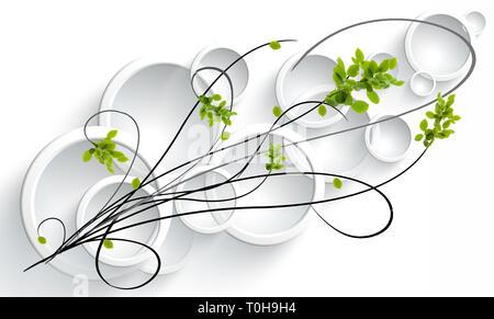 Diseño gráfico de ronda, convexas, lentes de cristal sobre un fondo blanco. Diseño original del ornamento, vid con rosa silvestre deja Imagen De Stock
