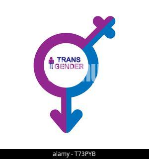 Símbolo masculino y femenino combinado, símbolo transgénero, de diseño simple Imagen De Stock