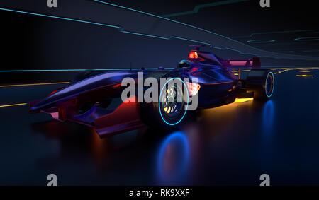 Carrera de coches acelerando a lo largo de un túnel futurista. Carrera de coches con ningún nombre de marca está diseñada y modelada por mí mismo. Ilustración 3D Imagen De Stock