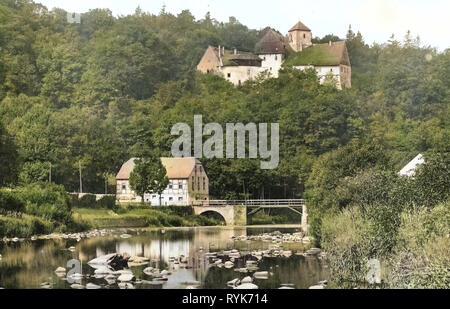 Schloss Rauenstein, Flöha (río), Puentes en 1918, Erzgebirgskreis Erzgebirgskreis, Lengefeld, Schloß Rauenstein, Alemania Imagen De Stock