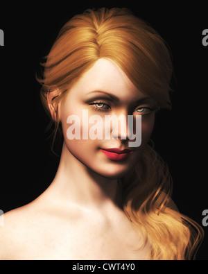 Ilustración digital de un retrato de una hermosa joven mujer rubia. Imagen De Stock