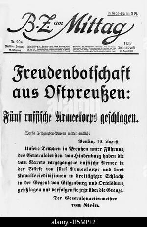 9 1914 8 29 E1 E batalla de Tannenberg BZ 1914 12.00 la Primera Guerra Mundial Frente Oriental batalla de Tannenberg Imagen De Stock