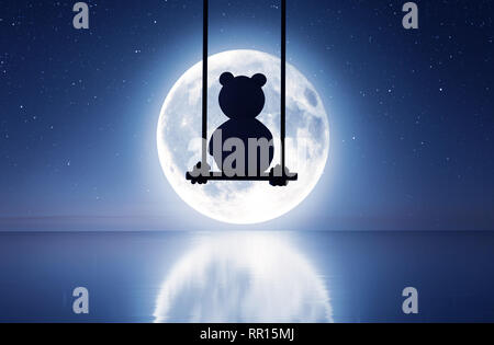 Triste oso de peluche sentado en columpio mirando a la luna,3D rendering Imagen De Stock