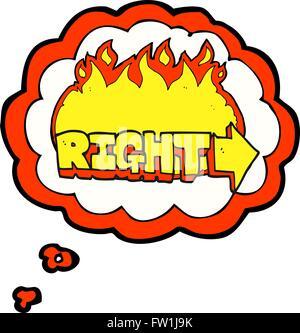 Pensamiento dibujados a mano alzada de dibujos animados burbuja símbolo derecho Imagen De Stock