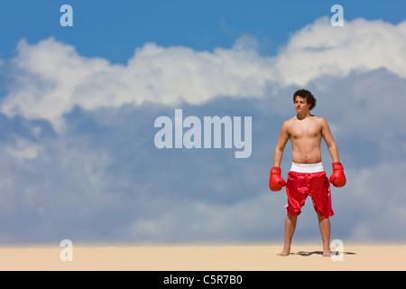 El boxeador de pie en la cima del mundo. Imagen De Stock