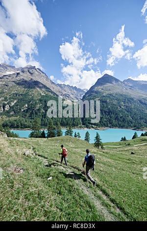 Excursionistas en la exuberante campo verde, lago en el fondo, Mont Cervin, Cervino, Valais, Suiza Imagen De Stock