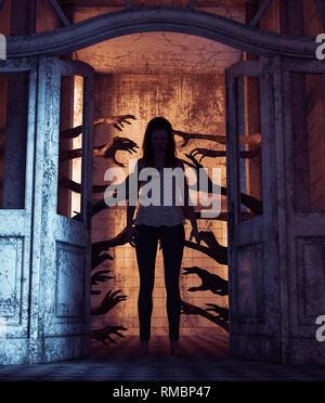 Casa de mil manos,Undead manos detrás de las puertas atormentando a la niña en una casa embrujada,3D rendering Imagen De Stock