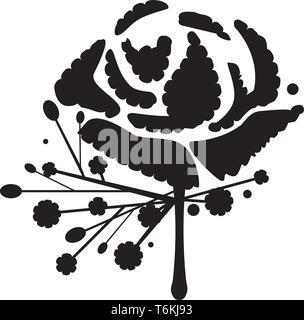 Clavel clásico ojal o flor en el ojal silueta vector Imagen De Stock