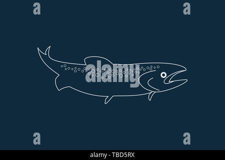 Dibujo de líneas vector de un pez en azul Imagen De Stock
