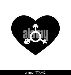 En el fondo del símbolo del corazón, de diseño simple transgénero Imagen De Stock