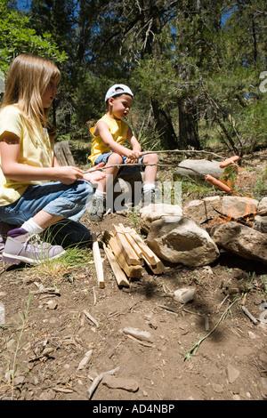 Dos niños cocinando salchichas por una fogata Imagen De Stock