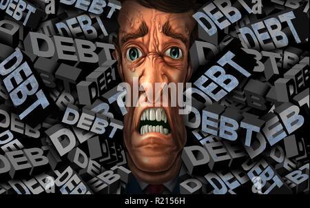 La deuda financiera de estrés y problemas de manejo de dinero como una persona con presión de crédito del presupuesto como un concepto de negocio con elementos de ilustración 3D. Imagen De Stock
