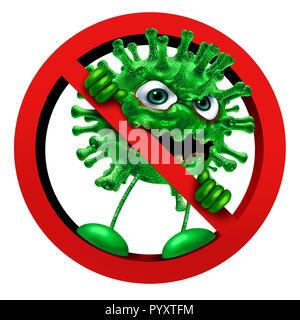 Detener virus firmar la inmunidad como un símbolo de carácter patógeno en una prohibición o icono prohibido como vacunación o la higiene de la salud como una idea en 3D Render. Imagen De Stock