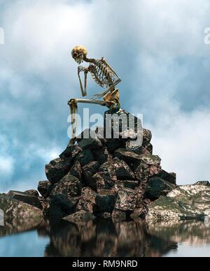 Aún esperando,esqueleto sentado solo en la roca,3D rendering Imagen De Stock