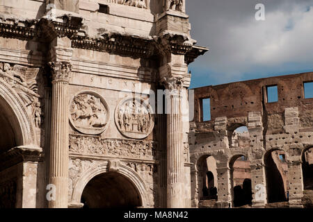 Detalle del Arco de Constantino, el Arco di Costantino, Roma Imagen De Stock