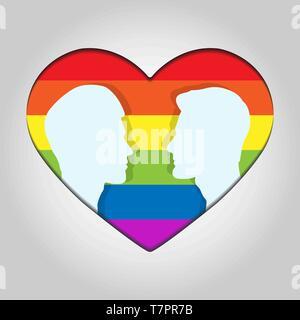 Dos cabeza masculina silueta uno frente al otro en el fondo de los corazones en colores de LGBT Imagen De Stock