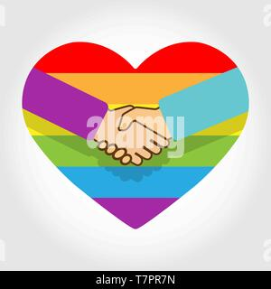 Apretón de manos en el fondo de un arco iris de corazones en colores de LGBT Imagen De Stock