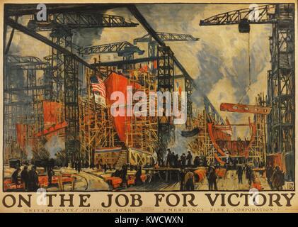 En el trabajo para la victoria. Pintura impresionista estadounidense de astillero ocupado durante la Primera Guerra Imagen De Stock