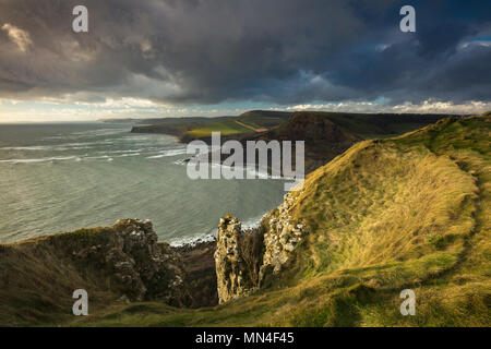 La costa Jurásica de St Aldhem la cabeza, Dorset, Inglaterra, Reino Unido. Imagen De Stock