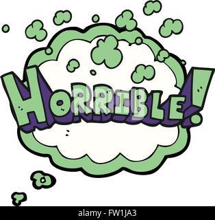 Burbuja de pensamiento dibujados a mano alzada cartoon palabra horrible Imagen De Stock