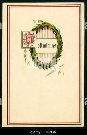 """Alemania, Schleswig-Holstein, Pinneberg, WW I, tarjeta postal con corona de laurel y el texto """"Dios con nosotros"""", envió 31. 12. 1915. , Additional-Rights-Clearance-Info-Not-Available Imagen De Stock"""