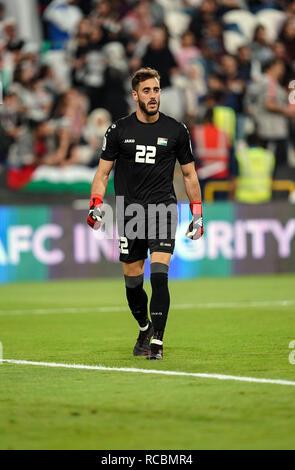 Enero 15, 2019 : Rami Hamadeh de Palestina en Palestina v Jordania en el estadio Mohammed Bin Zayed, en Abu Dhabi, Emiratos Árabes Unidos, AFC Copa Asiática, campeonato de fútbol asiático. Ulrik Pedersen/CSM. Imagen De Stock