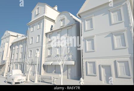 Libro blanco estilo antiguo. Ilustración 3D Imagen De Stock