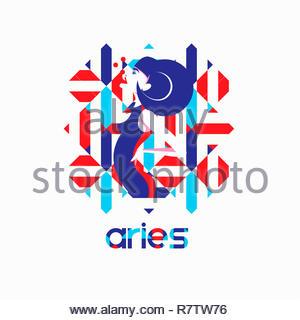 Modelo de moda en patrón geométrico como signo zodiacal Aries Imagen De Stock