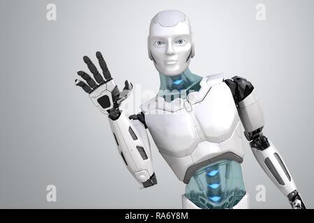 Saludo ondas robot su mano sobre un fondo gris claro. Ilustración 3D Imagen De Stock