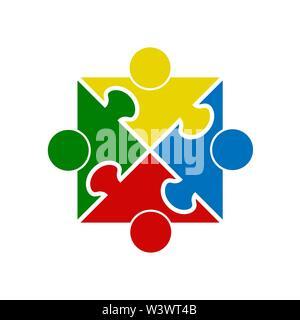 El trabajo en equipo. Plaza en la forma de un rompecabezas de cuatro piezas. Diseño plano Imagen De Stock