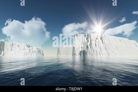 3D Render de icebergs contra el cielo azul con nubes blancas mullidas Imagen De Stock