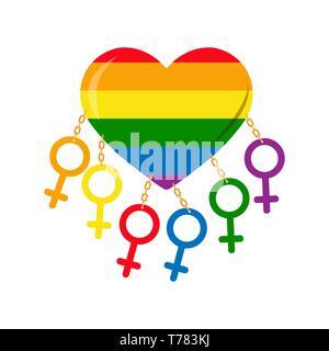 Símbolos de lo femenino en los colores de los GLBT encadenado al corazón en los colores de los LGBT Imagen De Stock