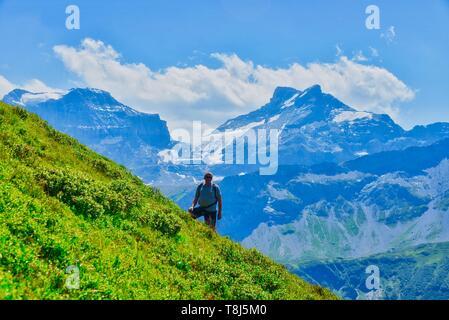 Hombre senderismo en los Alpes, Obere Bálsamo, Uri, Suiza Imagen De Stock