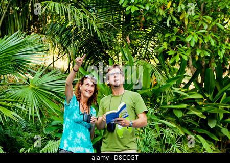 El hombre y la mujer la observación de aves en la selva Imagen De Stock