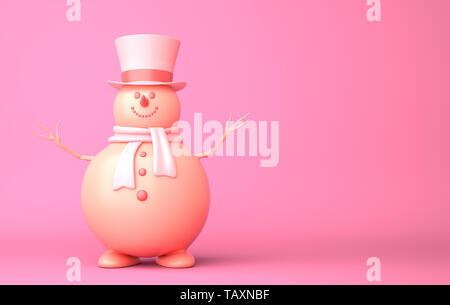 Lindo muñeco de nieve en el fondo de color rosa. Ilustración 3D Imagen De Stock