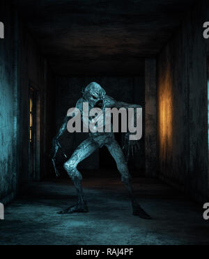 Scary monster criaturas en edificio abandonado,3d ilustración Imagen De Stock