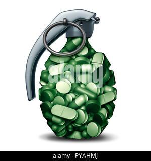Los opioides peligrosas crisis y analgésico de venta con receta y el concepto de riesgo de adicción epidémica como grupo de píldoras en forma de granada de mano de las bombas. Imagen De Stock