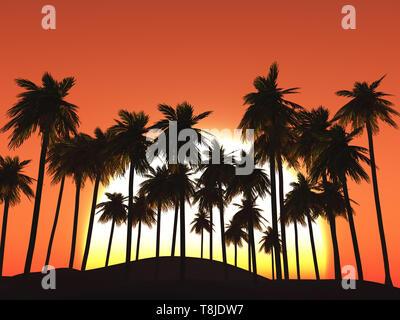 3D Render de palmeras contra el cielo del atardecer Imagen De Stock