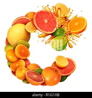 La vitamina C como cítricos concepto de texto como un grupo de frutas con las naranjas, limones, mandarinas y pomelo limón como un símbolo de la alimentación saludable. Imagen De Stock
