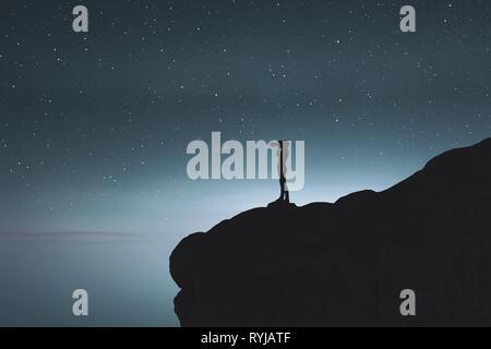 Ilustración 3d de silueta fotógrafo de tomar una fotografía de la noche estrellada Imagen De Stock