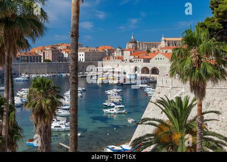 Mañana vistas del puerto y de la ciudad vieja de Dubrovnik, Croacia Imagen De Stock
