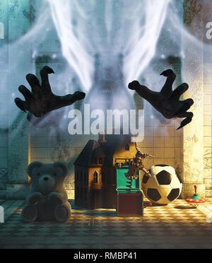 Ghost manos con los juguetes de los niños en el pasillo,3d ilustración para la portada del libro. Imagen De Stock
