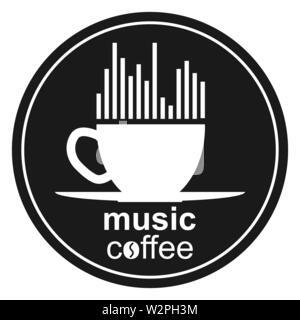 Taza de café, el espectro musical, corazón e inscripción music café. Plantilla para el logotipo, marca registrada o Bierdeckel. Imagen De Stock